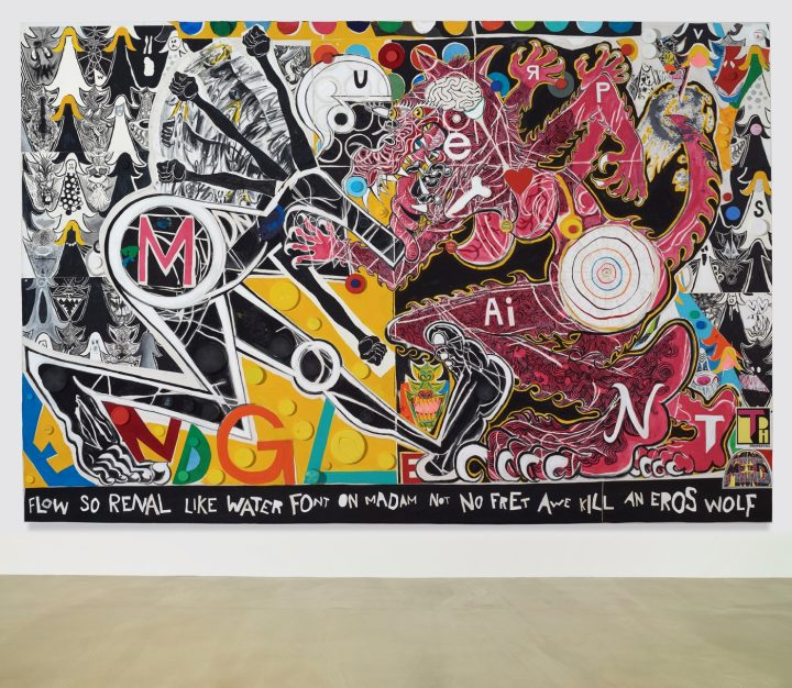 TRENTON DOYLE HANCOCK The She Wolf Amongst Them Fed Undom's Conundrum 2016 Acrylic and mixed media on canvas 72 x 108 x 4 ½ in.