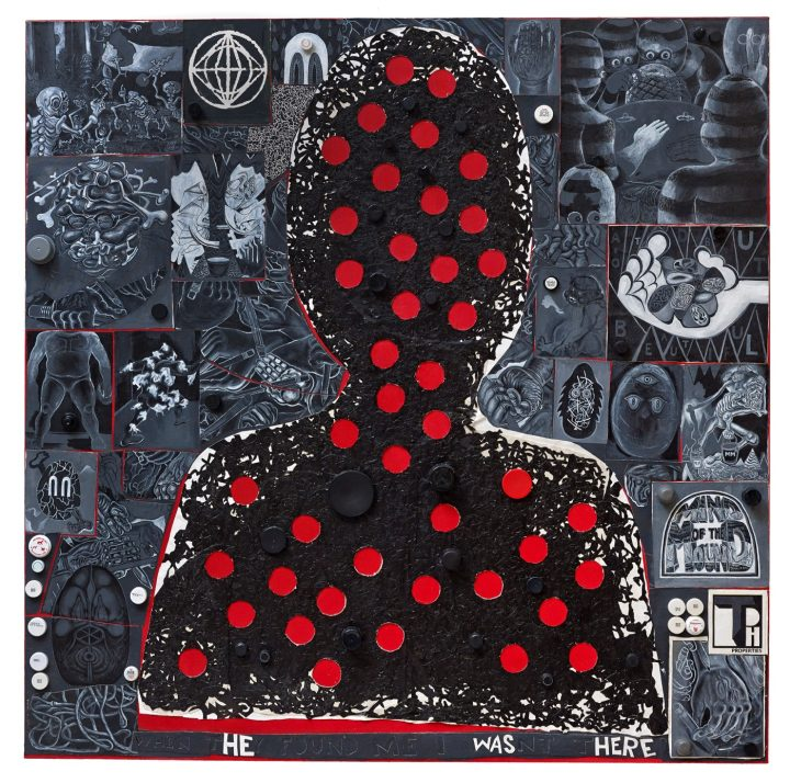 """Trenton Doyle Hancock, """"When They Found Me I Wasn't There, Version #2 (2016) Acrylic and mixed media on canvas 72 x 72 in."""