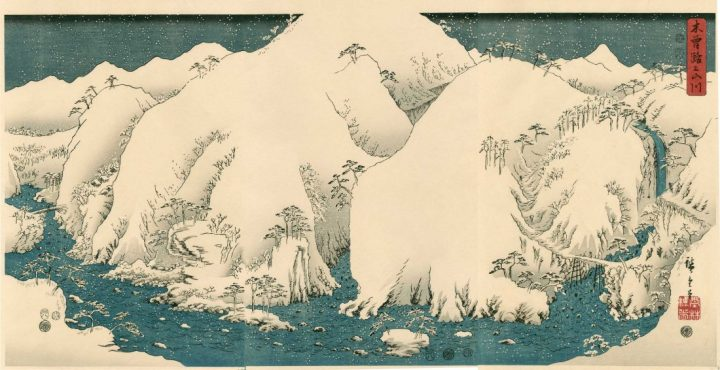 hiroshige-kiso-gorge-in-snow-triptych-1857