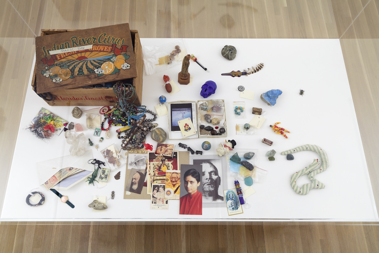 """Installation view, Julie Ault: afterlife at Galerie Buchholz, November 13, 2015–January 16, 2016, showing David Wojnarowicz, """"Magic Box"""" (nd) mixed media box, 8 x 11 1/2 x 17 in., from the David Wojnarowicz Papers, Fales Library and Special Collections, New York University (image courtesy the artist and Galerie Buchholz, New York)"""