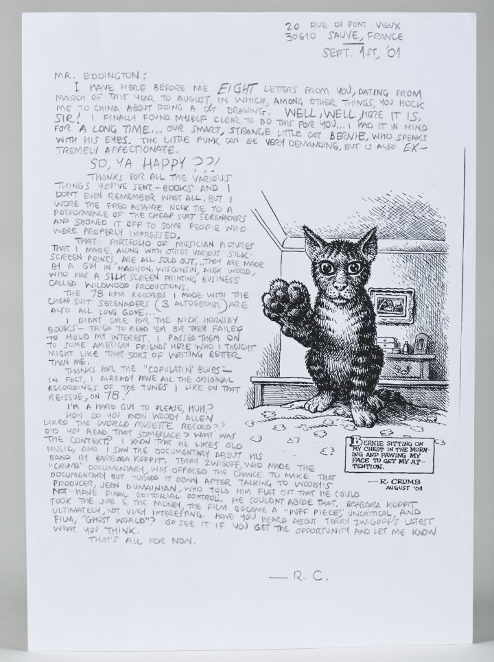 """Robert Crumb, letter with ink drawing """"Bernie Sitting on my Chest and Pawing My Face to Get My Attention"""""""