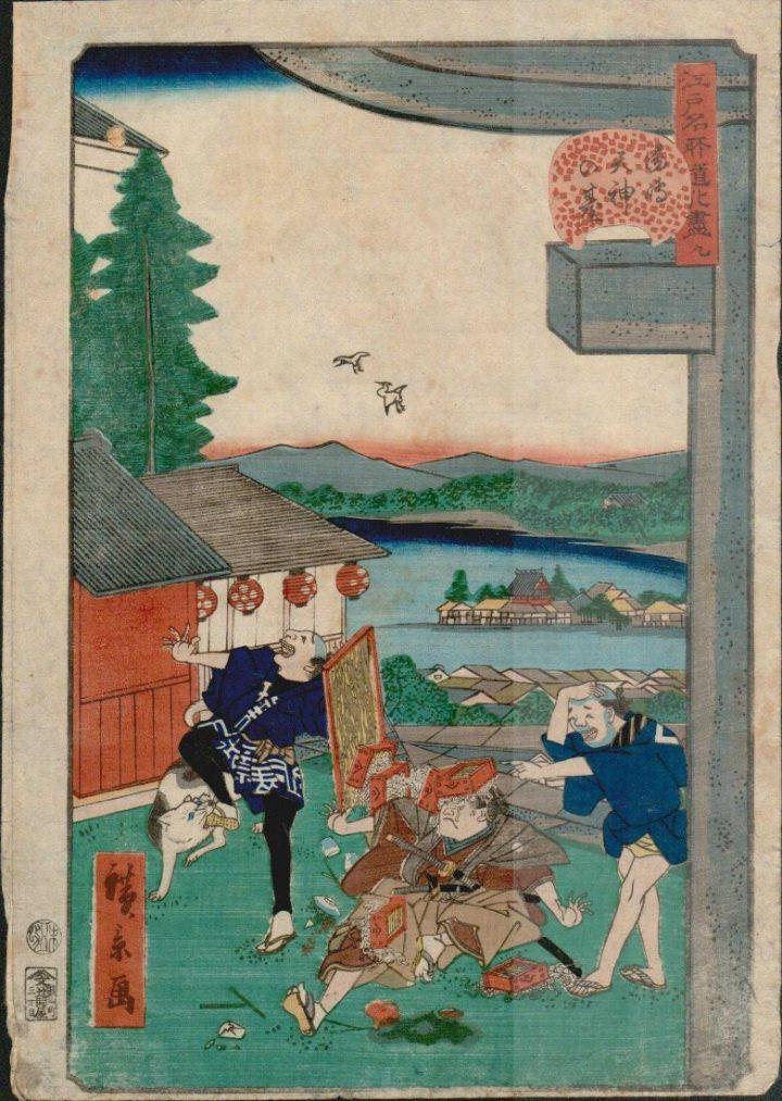 utagawa-hirokage-soba-noodles-fall-on-samurais-head