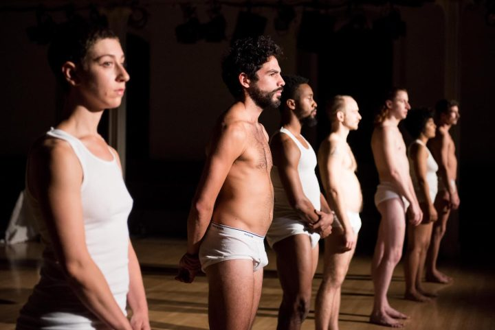 Talya Epstein, Alvaro Gonzalez, Johnnie Cruise Mercer, Alex Rodabaugh, Tony Carlson, Madison Krekel, and Charles Gowin in Variations on Themes from Lost and Found: Scenes from a Life and other works by John Bernd, Danspace Project (photo by Ian Douglas, courtesy Danspace Project)