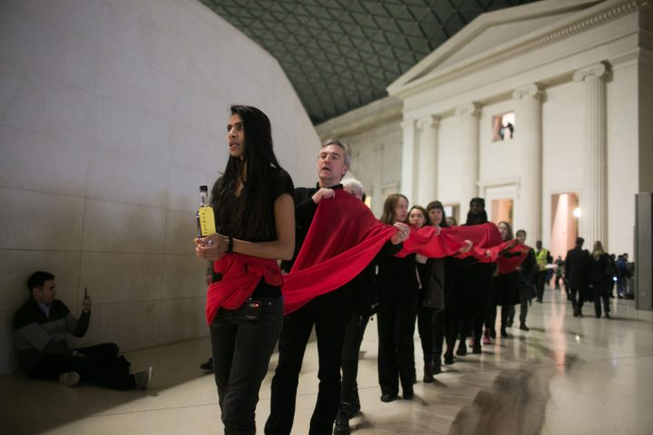 The artist activist group Bp-or-not-Bp stage a ceremonial performance at the British Museum 26th of November 2016 in Lonon, the United Kingdom. The performance which ran over several hours highlighted the impact of climate change across the world both present and in the future. The intervention was in protest against the continued sponsorship of the museum by the oil company BP.