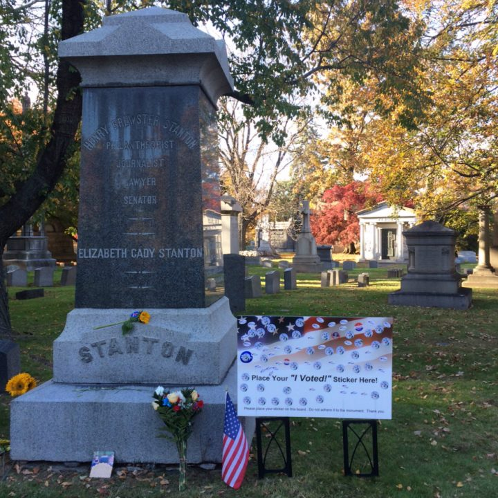 Tributes left at the grave of Elizabeth Cady Stanton in Woodlawn Cemetery, The Bronx (photo by Anastasija Ocheretina)