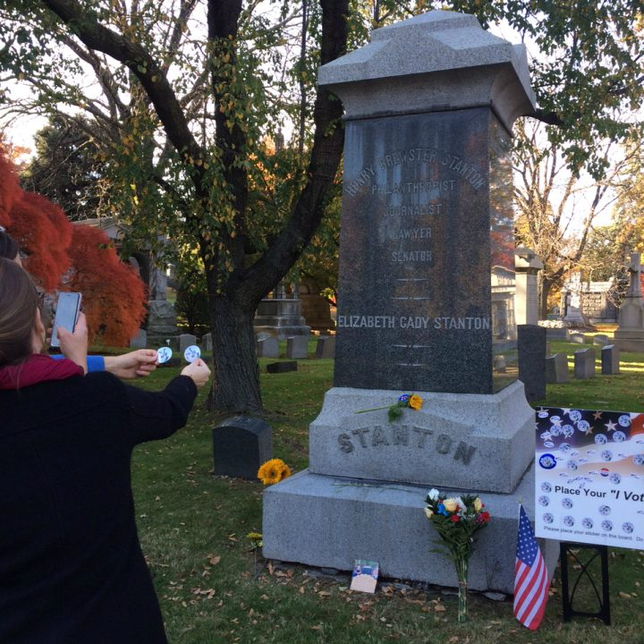 Visitors today to the grave of Elizabeth Cady Stanton in Woodlawn Cemetery, The Bronx (photo by Anastasija Ocheretina)