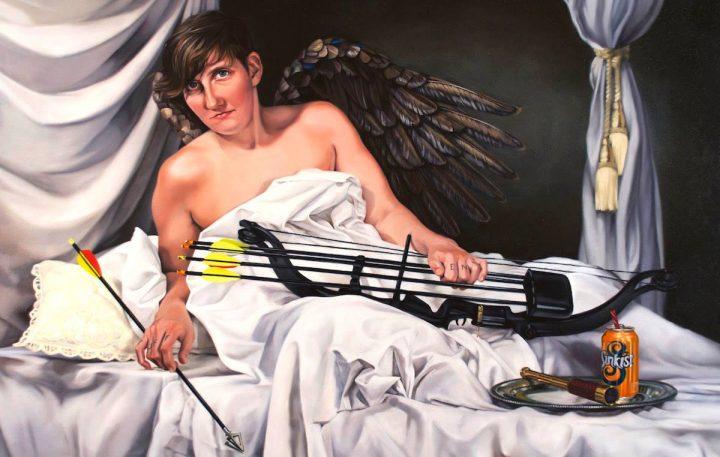 "Amanda Kirkhuff, ""Cupid""(2016), oil on canvas, 60 x 48 inches (via facebook)"