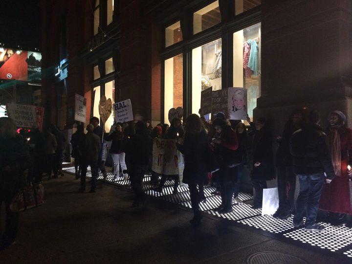 #DearIvanka protestors outside the Puck Building