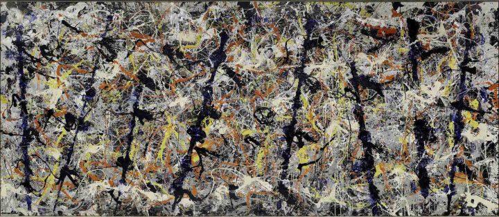 "Jackson Pollock, ""Blue Poles"" (1952), enamel and aluminium paint with glass on canvas, 212.1 x 488.9 cm, National Gallery of Australia, Canberra (© The Pollock-Krasner Foundation ARS, NY and DACS, London 2016)"