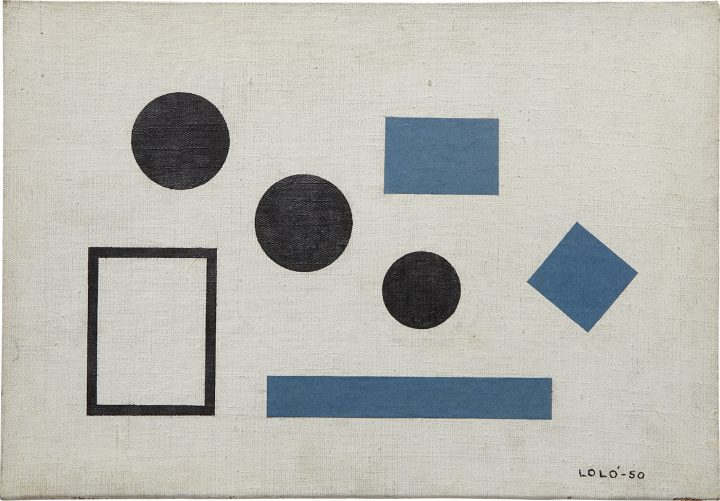 """Loló Soldevilla, """"Homenaje a Theo V. Doesburg, Composición No. 7, Variación Las Tres Gracias"""" (1950), oil and collage on canvas, laid on wood, 13 5/8 x 19 1/2 in, which is included in Phillips's upcoming auction of art from Latin America (image courtesy of Phillips)"""