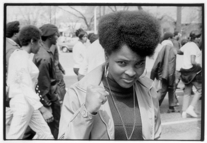 """Declan Haun, """"A young woman raising her fist in a show of pride and determination during an open-housing march through the streets of Chicago"""" (Chicago, 1966) (courtesy Chicago History Museum)"""