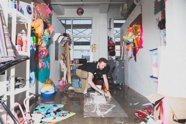 A graduate student in the Pratt MFA Fine Arts studios at the Pfizer Building