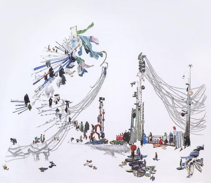 "Rachel Farbiarz, ""Pontoon"" (2016), graphite and collage, 47 x 52 1/2 in"