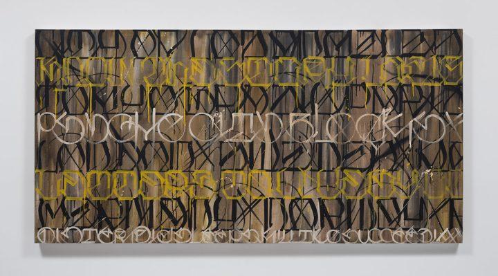 """David Cavazos (Big Sleeps), """"Por todo El Mundo"""" (2016), mixed media on canvas, 48 x 96 in. (via lalouver.com)"""