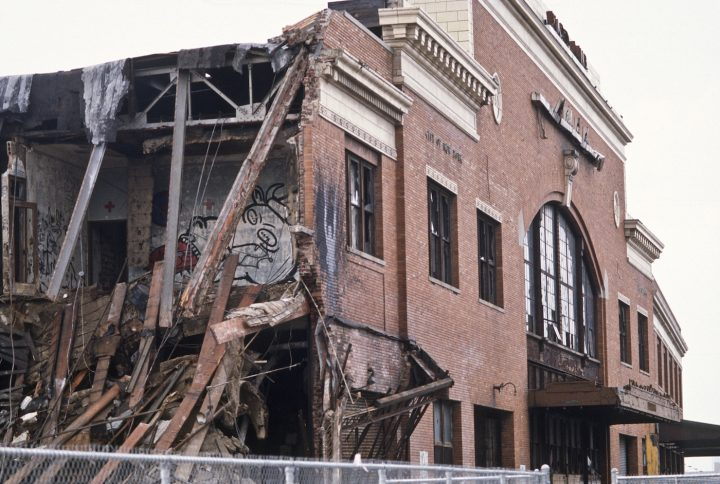 """Andreas Sterzing, """"Pier 34 Demolition (Wojnarowicz's Gagging Cow and Richard Hambleton shadow painting are visible)"""" (1984) (courtesy the artist and Hunter College Art Galleries, New York)"""