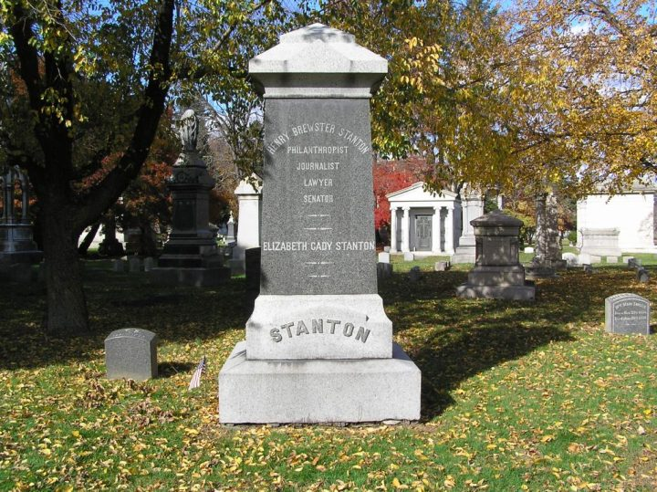 Monument to Elizabeth Cady Stanton in Woodlawn Cemetery, The Bronx (photo by Anthony22/Wikimedia)