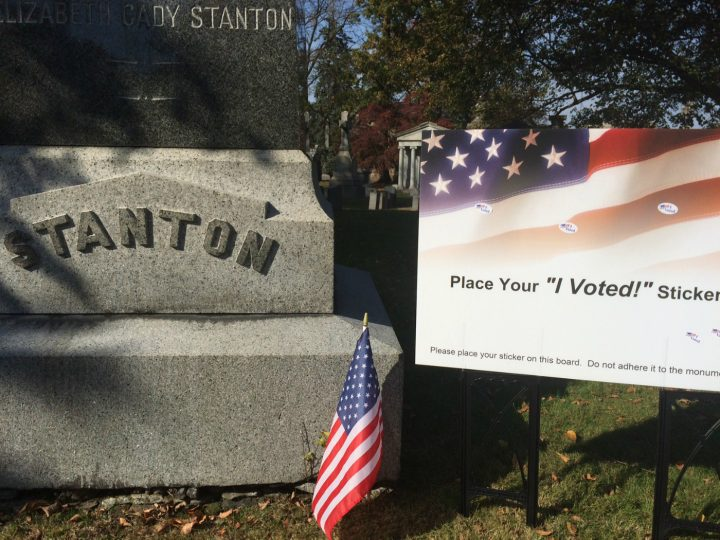 Voting stickers at the grave of Elizabeth Cady Stanton in Woodlawn Cemetery, The Bronx (courtesy Woodlawn Cemetery)