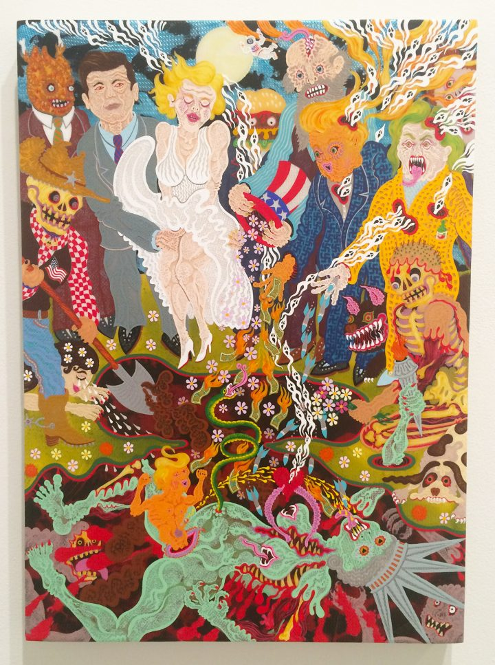 """Aaron Johnson, """"The Burial of Liberty"""" (2016), acrylic on polyester knit mesh, 25 x 18 in"""