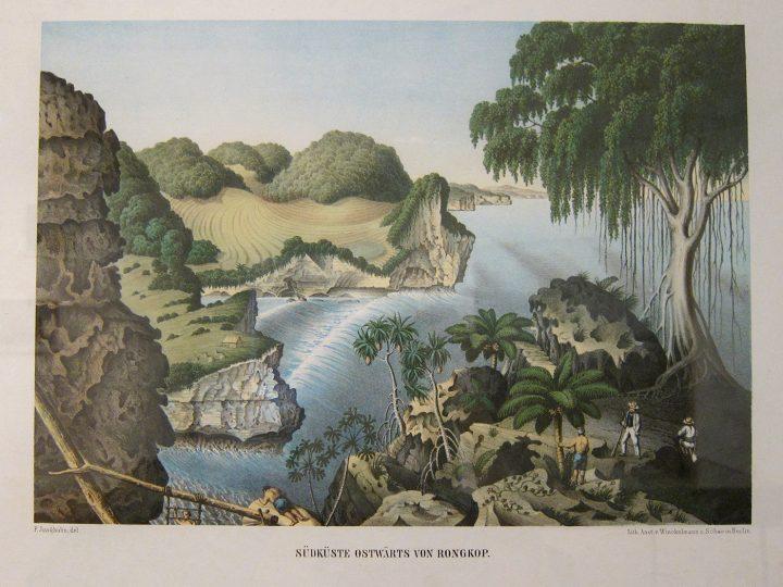 """Franz Wilhelm Junghuhn, """"Côte sud de/Southcoast of Rongkop"""" (1856), from Java-Album, Landschafts-Ansichten von Java, nach der Natur aufgenommen"""