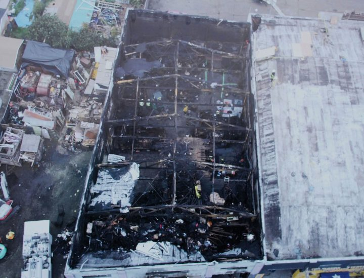 Aerial view of the Ghost Ship warehouse (photo courtesy Oakland Police Department)