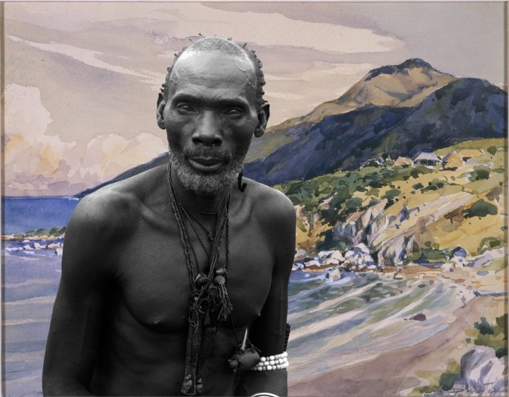 """Sammy Baloji, Portrait #1: Kalamata, chief of the Luba against watercolor by Dardennefrom the series """"Congo Far West: Retracing Charles Lemaire's expedition,"""" 2011. Digital photograph on Hahnemühle paper, 100 x 128 cm. Courtesy the artist and Axis Gallery, NY/NJ."""
