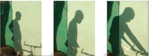 "Saïdou Dicko, ""Le Tour du Faso (The Faso Tour)"" from the series Le Voleur d'ombres (The Thief of Shadows) (2007). Five chromogenic print, Each 40 x 60 cm. Courtesy the artist."