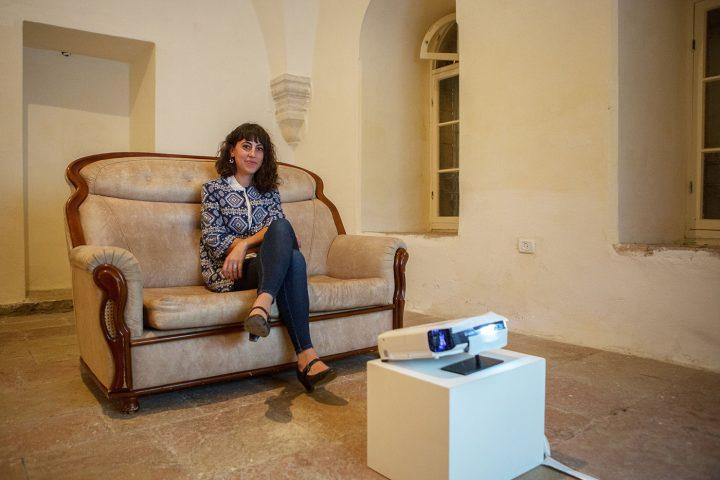 "Inas Halabi at the filming location of ""Mnemosyne"" (© Rafiq Halabi)"