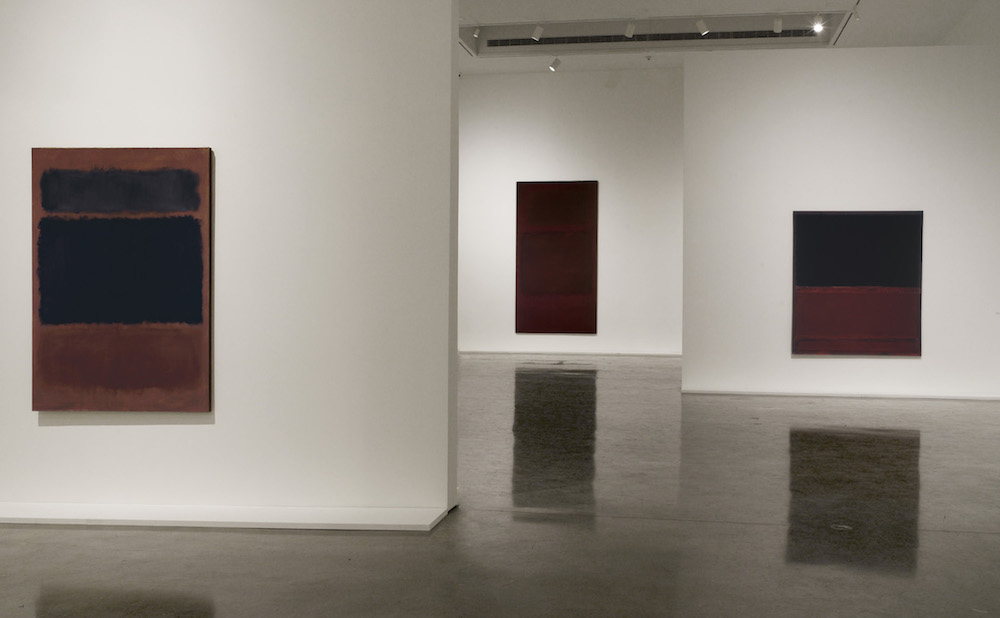 Rothko: Dark Palette Installation at Pace Gallery 510 West 25th Street, New York, NY November 4, 2016 – January 7, 2017 From left: Black in Deep Red, 1957, #63347; Untitled {Dark Gray on Maroon}, 1963, #62760; No. 22 {Untitled}, 1961, #62892  view 5 Photograph by: Kerry Ryan McFate