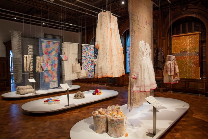 """""""Scraps: Fashion, Textiles and Creative Reuse"""" (2016), installation view (all images courtesy of Cooper Hewitt)"""