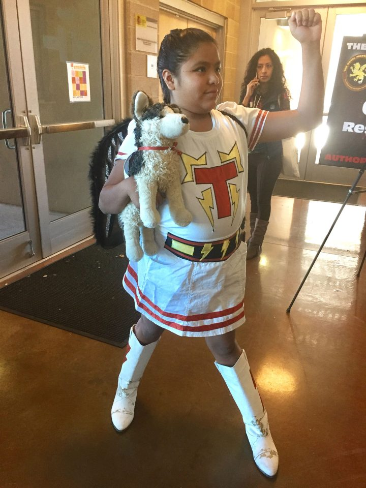 Tyra Chinana as a T-bird at the first-ever Indigenous Comic Con (all photos by the author for Hyperallergic)