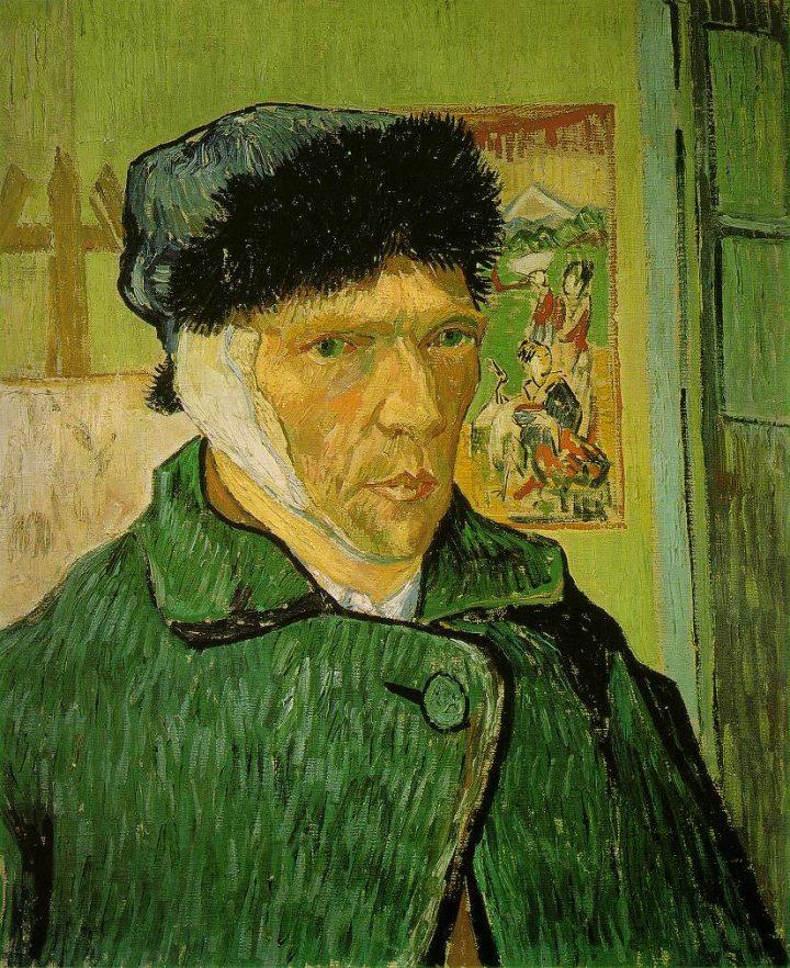 """Vincent van Gogh, """"Self-portrait with a bandaged ear"""" (1889) (Public domain image)"""