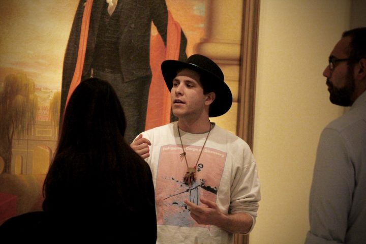 """DeLesslin George-Warren leading an """"Indigenous Corps of Discovery"""" tour at the National Portrait Gallery in Washington, DC"""