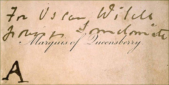 John Douglas, Marquis of Queensberry's card to Oscar Wilde (via Wikimedia)