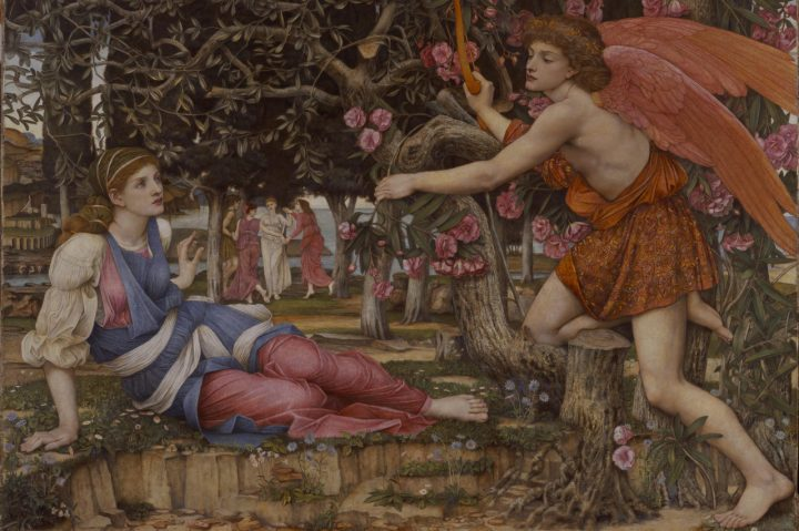 """John Roddam Spencer Stanhope, """"Love and the Maiden"""" (1877), Fine Arts Museums of San Francisco, museum purchase, European Art Trust Fund, Grover A. Magnin Bequest Fund, and Dorothy Spreckels Munn Bequest Fund (© Fine Arts Museums of San Francisco Museum)"""