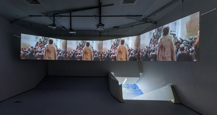A view of the video installation (13 mins) created by curator Nils Warnecke, in the Museum's video screening amphitheater, for <em>Martin Scorsese</em> at the Museum of the Moving Image (photo by Thanassi Karageorgiou, courtesy the Museum of the Moving Image)