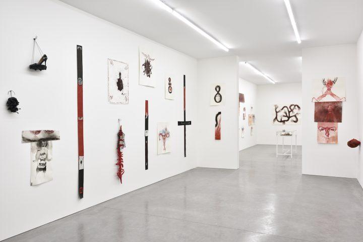 Installation view of Annette Messager, À mon seul désir at Librairie Marian Goodman, Paris