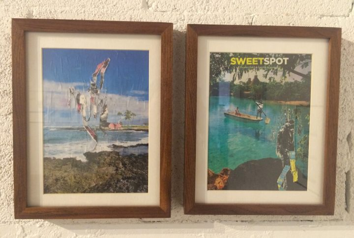 """Andrea Chung, """"Dry Yaye"""" (2008, left), magazine decollage, 9 x 12 in; """"Sweet Spot"""" (2009, right), magazine decollage, 9 x 12 in"""