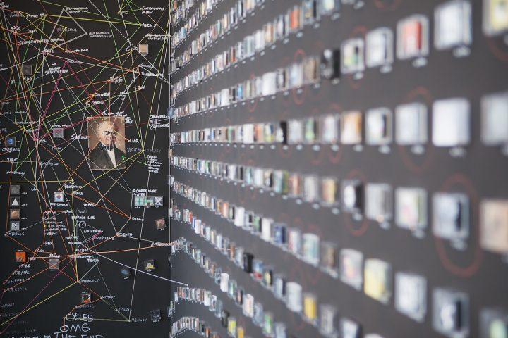 "Detail of Jonathan Saiz's ""The Database"" (2016) (photo by Amanda Tipton)"