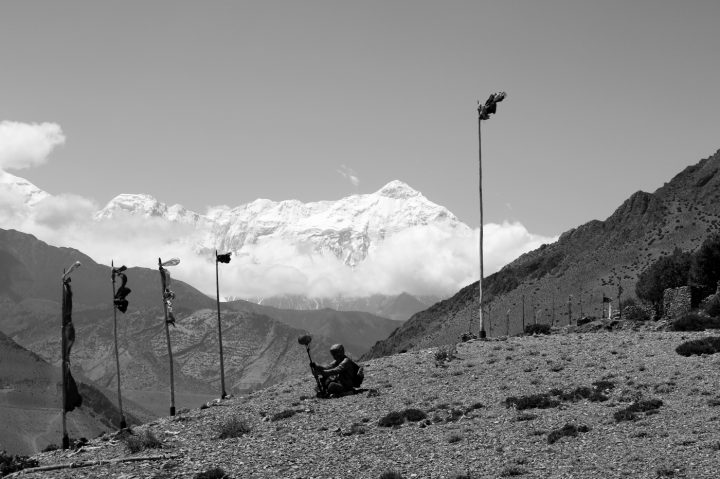 The Soundwalk Collective recording on-site in Upper Mustang, Nepal (photo by Stephan Crasneanscki, courtesy the Rubin Museum)