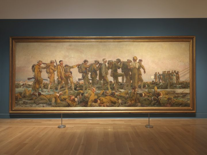 """Installation view of <em>World War I and American Art</em> at the Pennsylvania Academy of the Fine Arts featuring """"Gassed"""" (1919) by John SInger Sargent (photo courtesy the Pennsylvania Academy of the Fine Arts, Philadelphia)"""