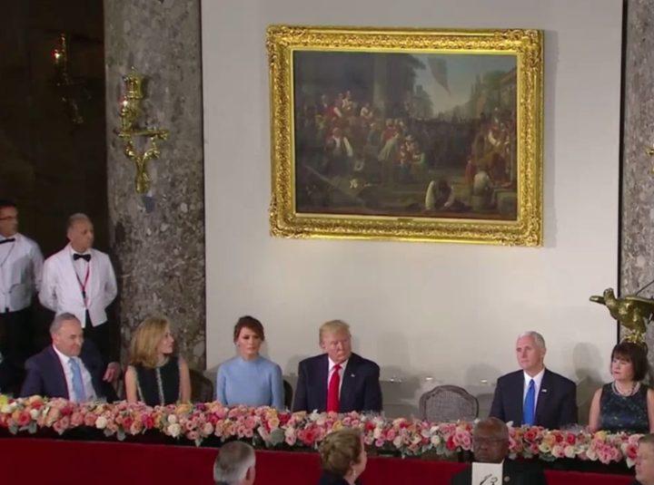 "George Caleb Bingham's ""The Verdict of the People"" (1854) at Donald Trump's inaugural luncheon (screenshot via YouTube)"