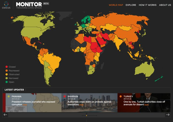An Online Platform Tracks The Suppression Of Civic Freedoms Worldwide - Bahrain interactive map