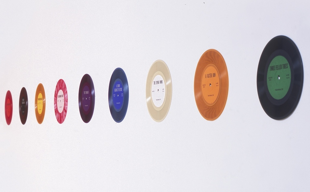 """Jack Goldstein, """"A Suite of 9 Seven-Inch Records"""" (1976) (image courtesy 1301PE, Los Angeles)"""