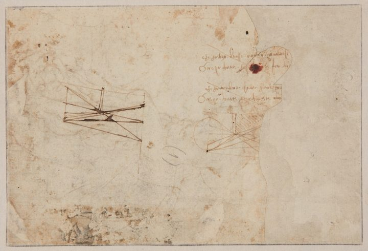 The reverse of the c. 1482 drawing attributed to Leonardo da Vinci, showing two scientific studies (©TAJAN)