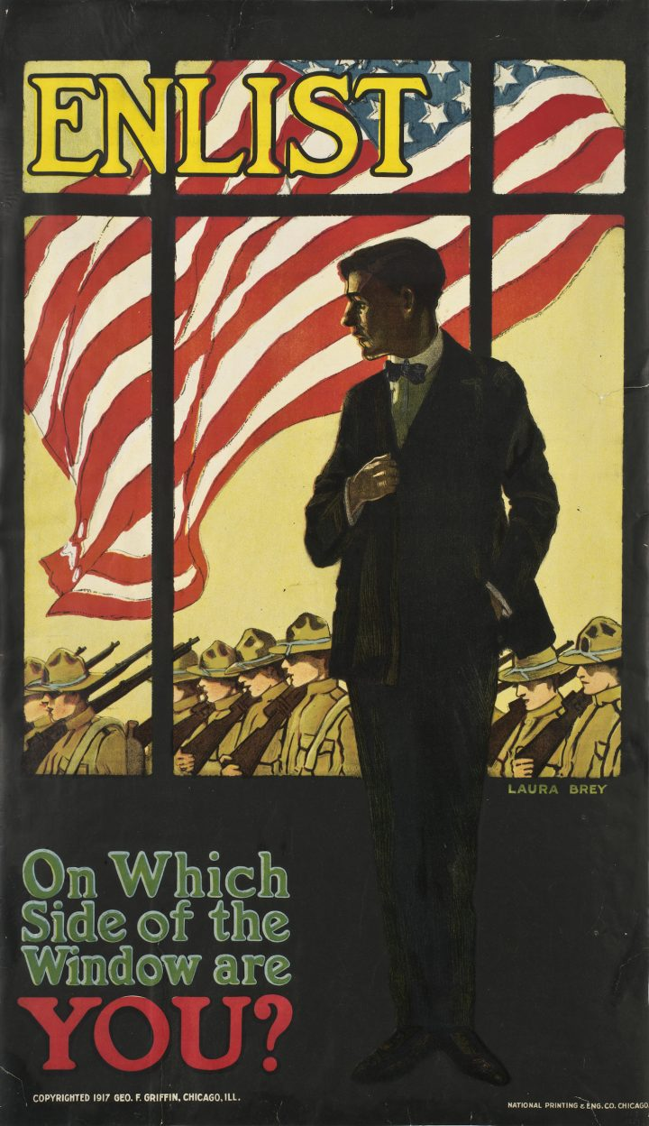 """Laura Brey, """"Enlist — On Which Side of the Window Are YOU?"""" (1917), poster, 39 × 26 in, courtesy of the New-York Historical Society (photo © the New-York Historical Society)"""