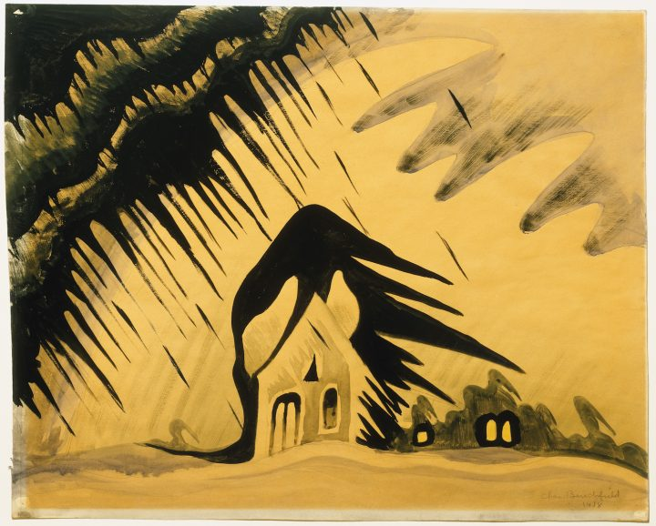 """Charles Burchfield, """"The East Wind"""" (1918), watercolor on paper, 18 x 22 1/2 in, Albright-Knox Art Gallery, Buffalo, New York, bequest of A. Conger Goodyear, 1966 (photo courtesy Albright-Knox Art Gallery/Art Resource, NY)"""