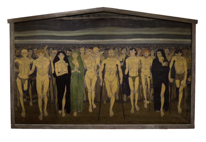"""Carl Hoeckner, """"The Homecoming of 1918"""" (1919), oil on panel, 57 × 83 3/4 in (courtesy the John & Susan Horseman Collection of American Art)"""