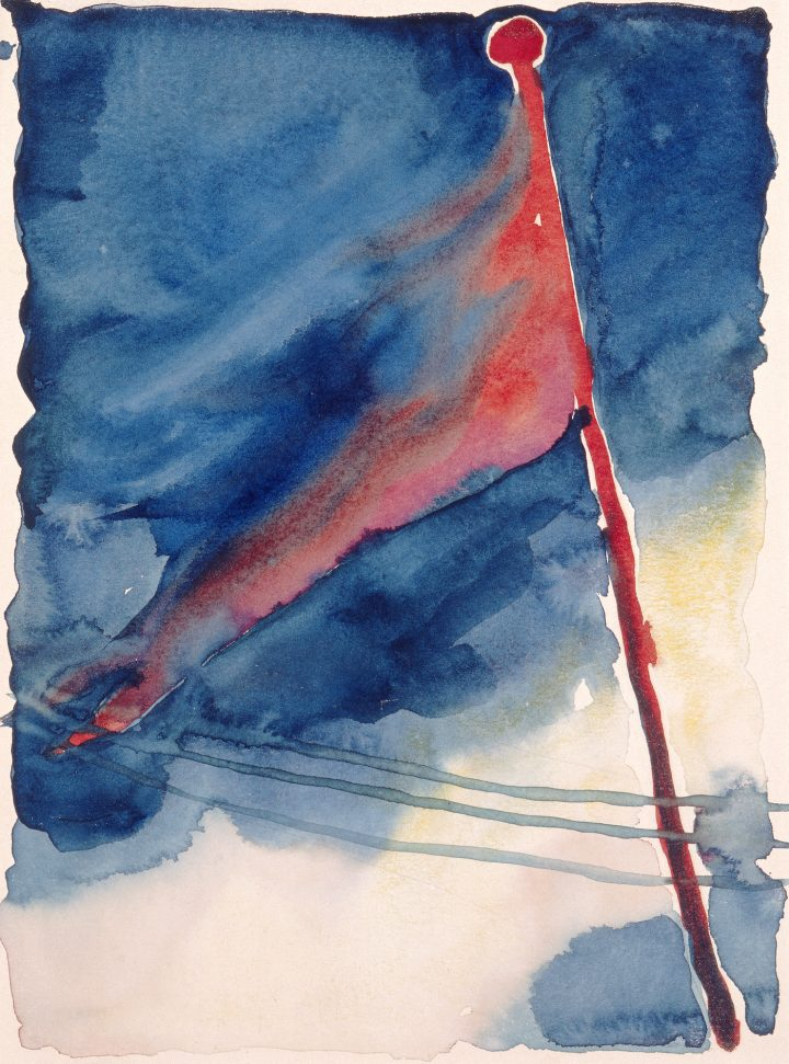 """Georgia O'Keeffe, """"The Flag"""" (1918), watercolor on paper, 11 15/16 × 8 3/16 in, Milwaukee Art Museum, gift of Mrs. Harry Lynde Bradley (© 2016 Georgia O'Keeffe Museum/Artists Rights Society, ARS, New York; photo by Larry Sanders)"""