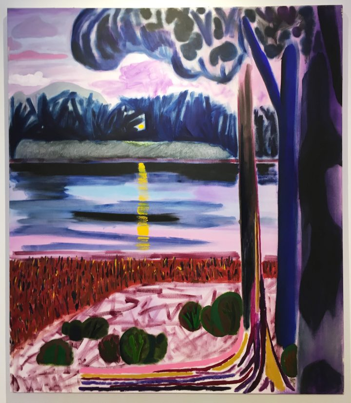 """Shara Hughes, """"Lake Norway"""" (2016), oil and enamel on canvas, 60 x 52 in, Rachel Uffner, NADA Miami Beach 2016 (all photos by the author for Hyperallergic)"""