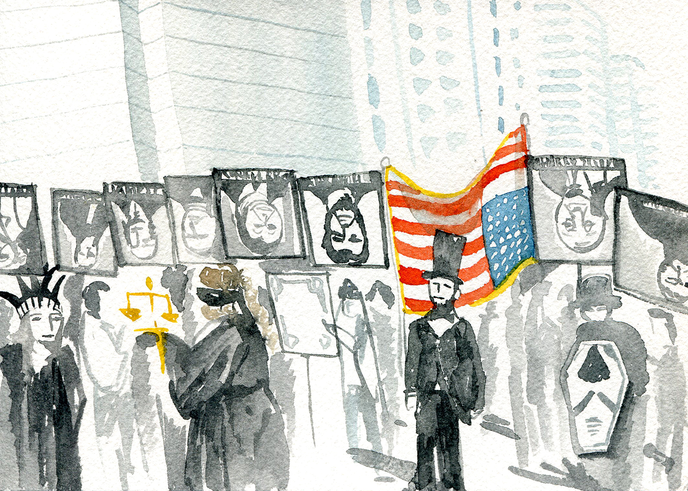 Indywatch feed allcommunity beneath the arch was a grouping of prominent funeral guests lady justice a somber lady liberty robed in black abraham lincoln and other veiled figures fandeluxe Gallery